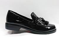Черные кожаные туфли на каблуке . Маленькие размеры (33 - 35)., фото 1