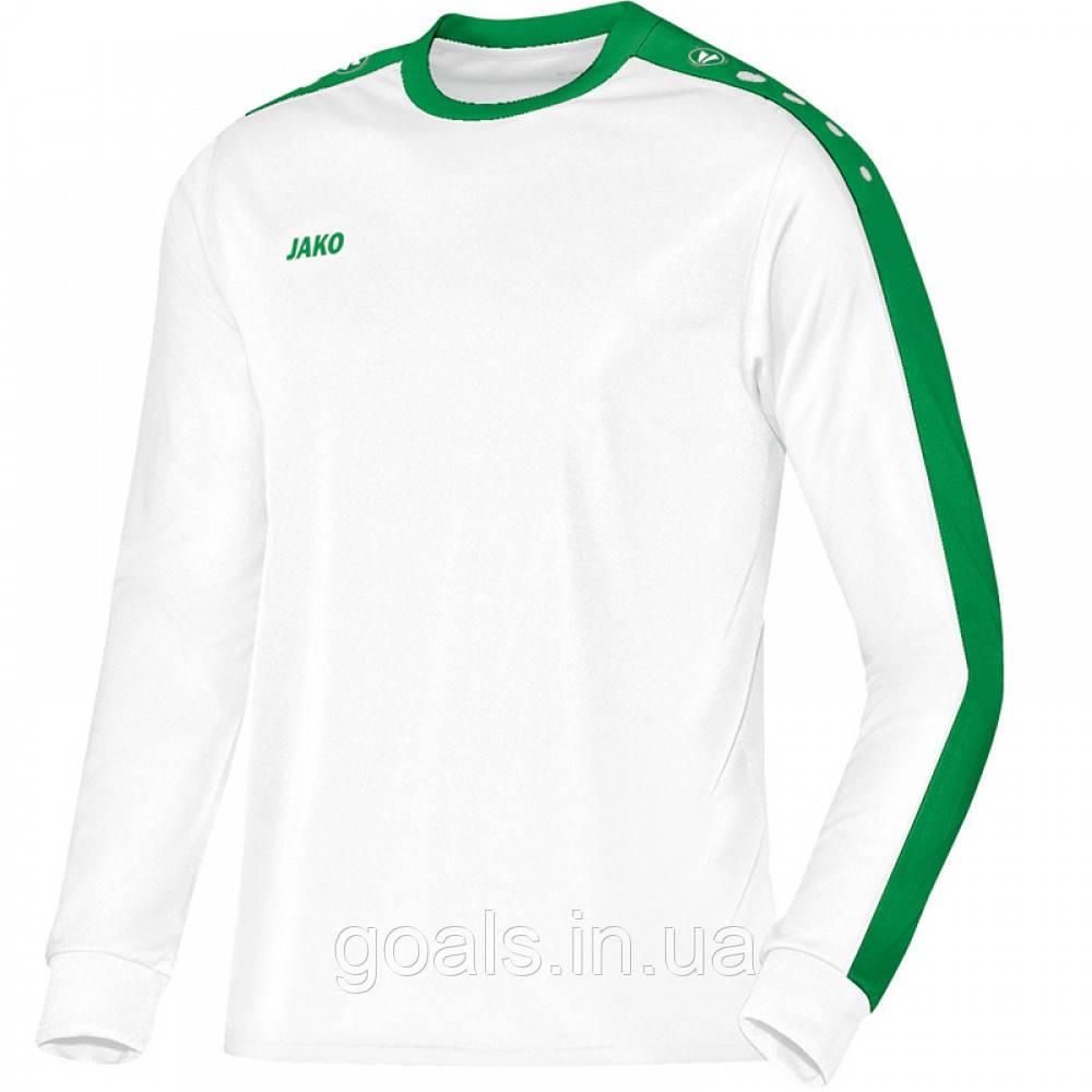 Футболка футбольная с длинным рукавом Jersey Striker L/S (white/sport green)