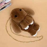 Меховая сумка-рюкзак в виде зайчика коричневая