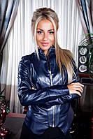 Женская короткая кожаная куртка асимметричная по низу