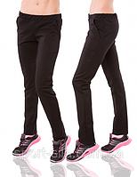 Спортивные брюки женские трикотажные прямые темного серого цвета Украина