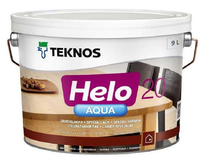 Лак полиуретановый TEKNOS HELO AQUA 20 для паркета и мебели полуматовый 9л