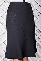 Женская чёрная юбка Годе с вышивкой, размер 52, 54, 56, 58