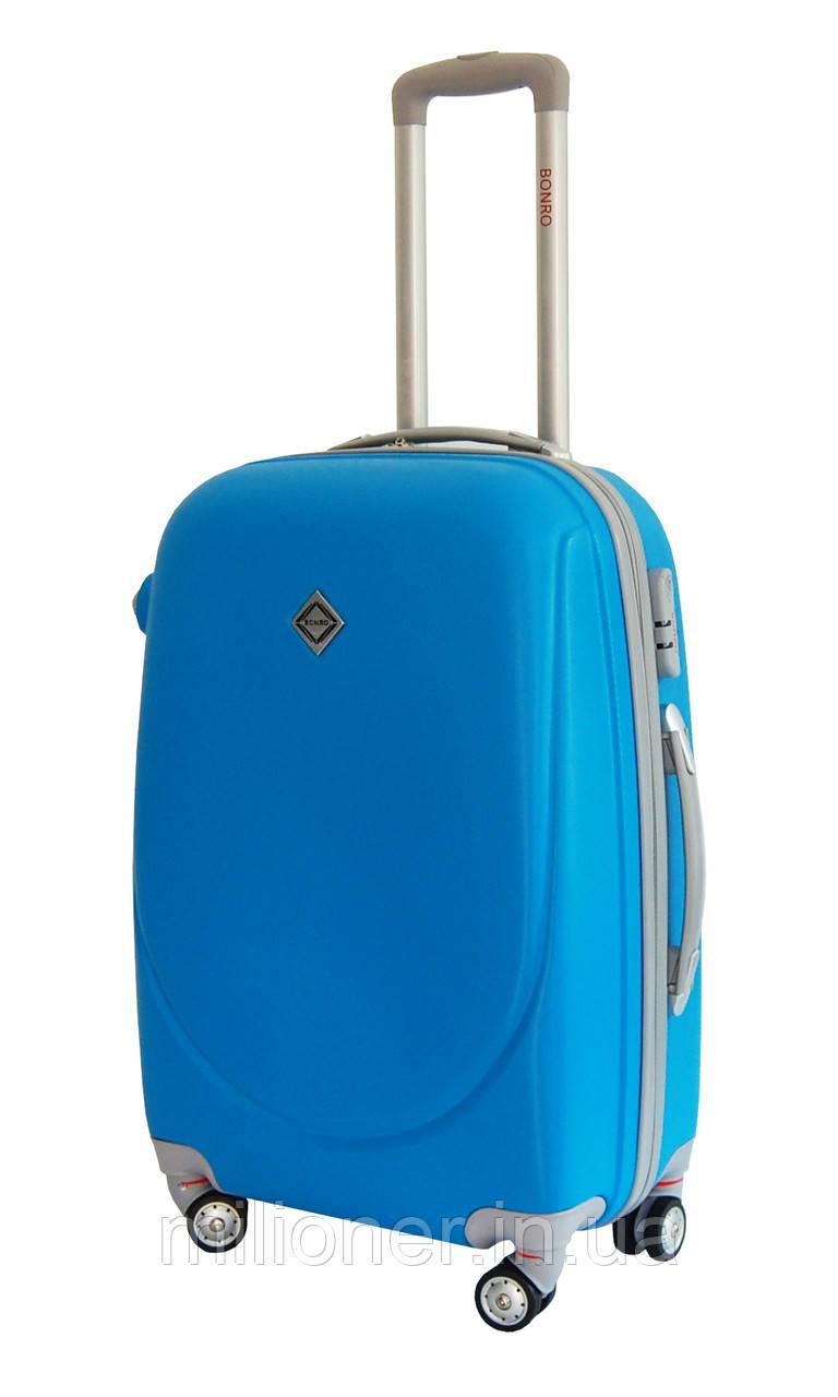 Чемодан Bonro Smile с двойными колесами (средний) голубой