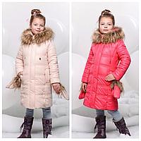 Длинная куртка для девочки с рукавичками | Оригинальный пуховик для девочки