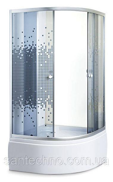 Душова кабіна з високим піддоном Sansa S-90/45 сатин/мозаїк сіре (900*900*1950мм)