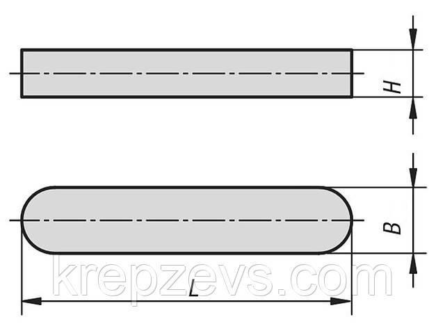 Схема габаритных размеров шпонки DIN 6885 типа А