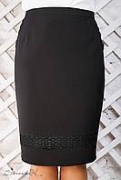 Женская прямая чёрная юбка с кружевом, размер 50, 52, 54, 56