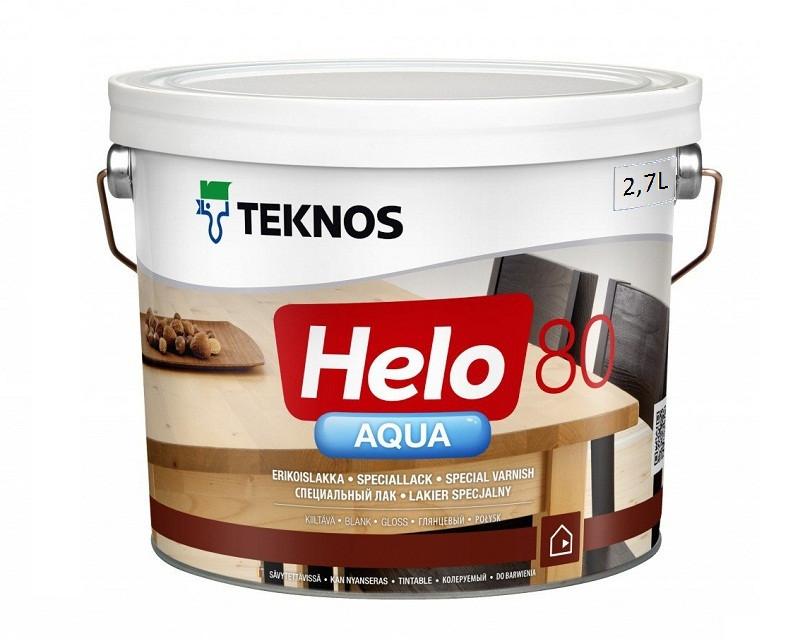 Лак полиуретановый TEKNOS HELO AQUA 80 для паркета и мебели глянцевый 2,7л