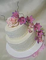 Свадебный  торт Очарование  ярусный кружевной  под заказ Харьков