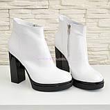 Ботинки демисезонные женские классические на высоком каблуке, из натуральной кожи, цвет белый., фото 2