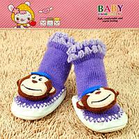 Пинетки для новорожденных фиолетовые обезьянка Djan F11-4 6-12