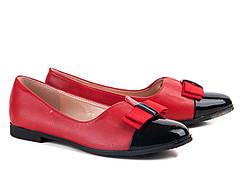 Балетки красные с черным лаковым носком