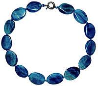 Бусы, натуральный камень, агат, голубой мраморный 5_25_264