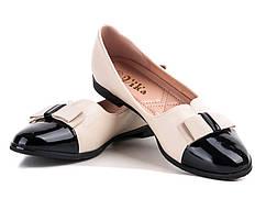 Балетки женские бежевые с черным лаковым носком