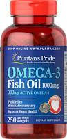 Puritan's Pride Omega-3 Fish Oil 1000 mg (300 mg Active Omega-3) 250 sofgels