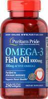 Риб'ячий жир, Омега-3, Puritan's Pride Omega-3 1000 мг капсул 250