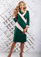 Женское платье до колена 2319 цвет зеленый размер 52-58 / большие размеры