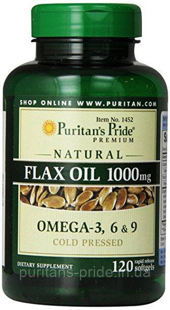 Puritan's Pride Лляне масло Омега 3-6-9 Natural Flax Oil 1200 mg 100 Rapid Release Softgels