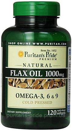 Puritan's Pride Лляне масло Омега 3-6-9 Natural Flax Oil 1200 mg 100 Rapid Release Softgels, фото 2
