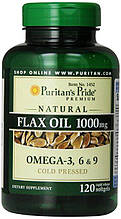 Puritan's Pride Льняное масло Омега 3-6-9 Natural Flax Oil 1200 mg 100 Rapid Release Softgels