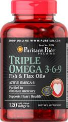 Омега 3 6 9, Puritan's Pride Triple Omega 3-6-9 Fish & Flax Oils 120 Softgels