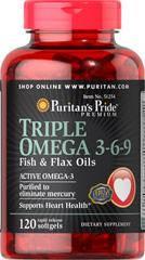 Омега кислоты 3-6-9 Puritan's Pride Triple Omega 3-6-9 Fish & Flax Oils 120 Softgels, фото 2