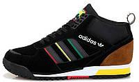 Мужские зимние высокие кроссовки Adidas ZX MID Black (Адидас) с мехом черные