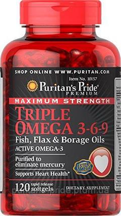 Омега 3 6 9, Puritans Pride Maximum Strength Triple Omega 3-6-9 Fish, Flax & Borage Oils (120 Softgels), фото 2
