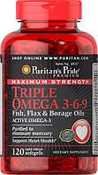Омега кислоты 3-6-9 Puritan's Pride Maximum Strength Triple Omega 3-6-9 Fish, Flax & Borage Oils 120 Softgels