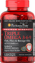 Омега 3 6 9, Puritans Pride Maximum Strength Triple Omega 3-6-9 Fish, Flax & Borage Oils (120 Softgels)
