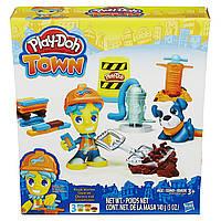 Игровой набор пластилина Город Дорожный рабочий и щенок Плей До/Play-Doh