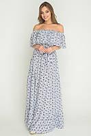 Летнее платье из штапеля с воланом макси 2 цвета