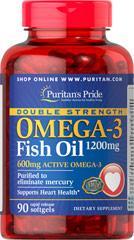 Риб'ячий Жир,Омега-3,Puritan's Pride Double Strength Omega-3 Fish Oil 1200 mg/600 mg 90 Softgels