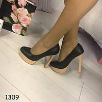 Туфли женские на каблуках черные АВ-1309