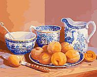 Картина по номерам без коробки KHO5512 Натюрморт с абрикосами и старинным сервизом Худ Триша Хардвик (40 х 50 см) Идейка
