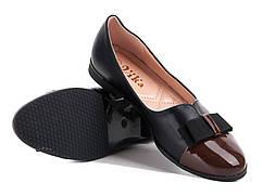 Балетки женские с коричневым лаковым носком