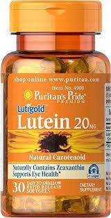 Витамины для глаз, лютеин,  Puritan's Pride Lutein 20 mg with Zeaxanthin 30 Softgels