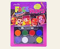 Грим, аквагрим, краски для лица. 8 цв. палитра.