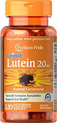 Витамины для глаз, Лютеин, ,Puritan's Pride Lutein 20 mg with Zeaxanthin 120 Softgels, фото 2