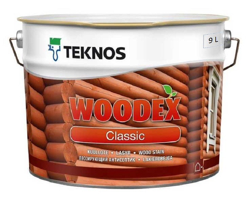 Лазурь-лак антисептический TEKNOS WOODEX CLASSIC для древесины 9л