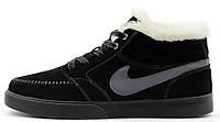 Мужские зимние кроссовки Nike Blazer Mid Winter (Найк) с мехом черные