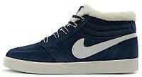 Мужские зимние кроссовки Nike Blazer Mid Winter (Найк) с мехом синие