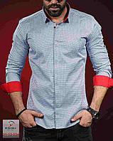 Молодежная мужская рубашка с яркими манжетами