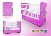 Детская кроватка АВТОМАТИЧЕСКАЯ С ПУЛЬТОМ розовая