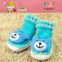 Пинетки для новорожденных голубые мишка Djan F11-9 6-12-R