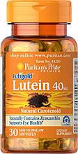 Вітаміни для очей, Лютеїн, Puritan's Pride Lutein 40 mg with Zeaxanthin 30 Softgels уцінка 10.18 рік