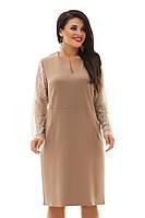 Платье бежевое в размерах 48-54 с вставкой из кружева