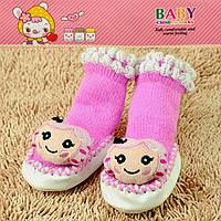 Пинетки для новорожденных розовые девочка Djan F11-12 0-6