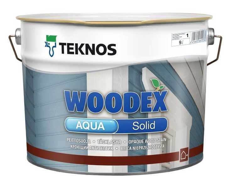 Краска антисептическая TEKNOS WOODEX AQUA SOLID для деревянных фасадов белая (база 1) 9л